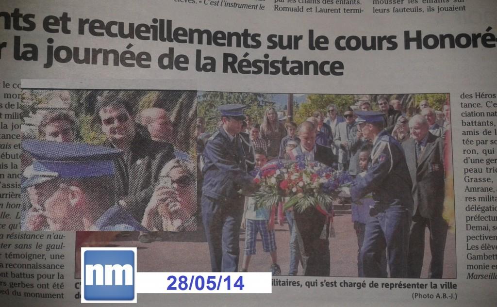 Jean-René LAGET, Responsable RPFJ 06 et Responsable RPF de la 7° Circonscription des Alpes Maritimes était également présent dans le Nice Matin Edition Grasse du 28/05/14 pour la 1° Journée Nationale de Commémoration de la Résistance - 27/05/14 au Cours Honoré Cresp
