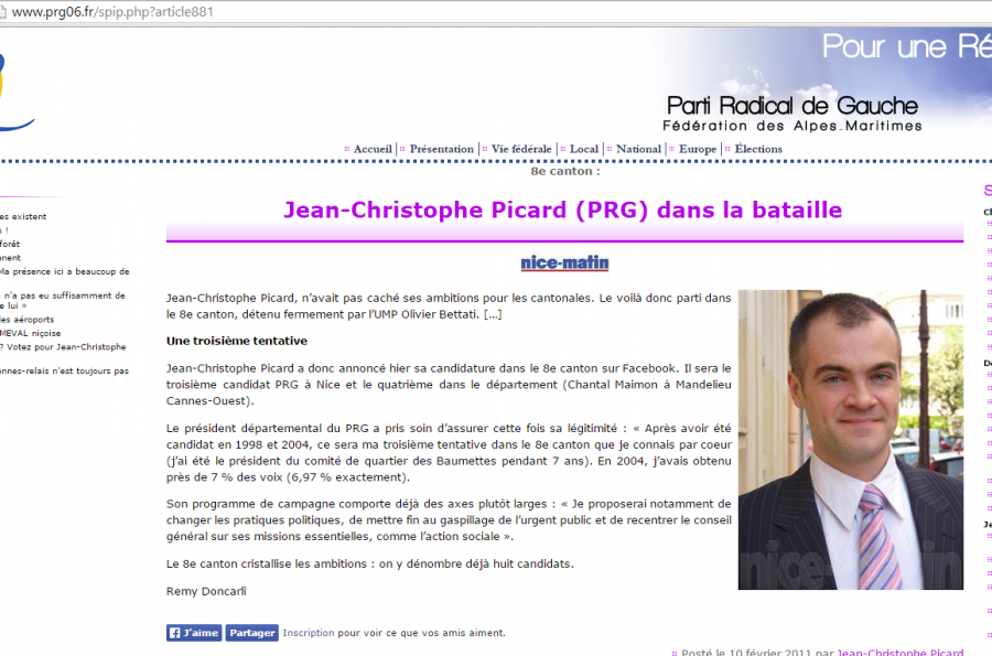 Capture d'écran de l'article du site PRG 06 reprenant l'article Nice Matin de l'époque - cantonales 2011)