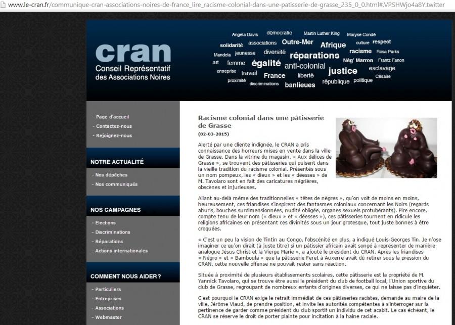 Le communiqué sur le site du CRAN