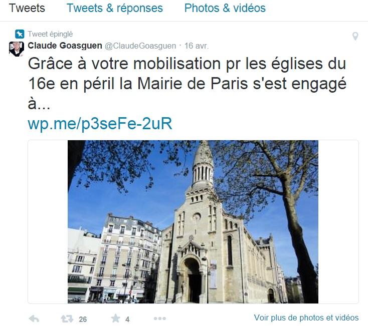 Claude GOASGUEN et le sauvetage des églises parisiennes - capture d'écran twitter - cliquer dessus pour agrandissement