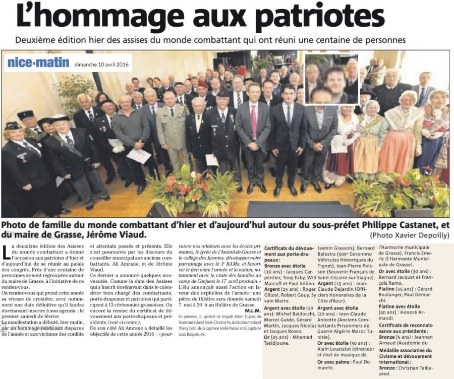 Article Nice Matin 2° assises du Monde Combattant RPF