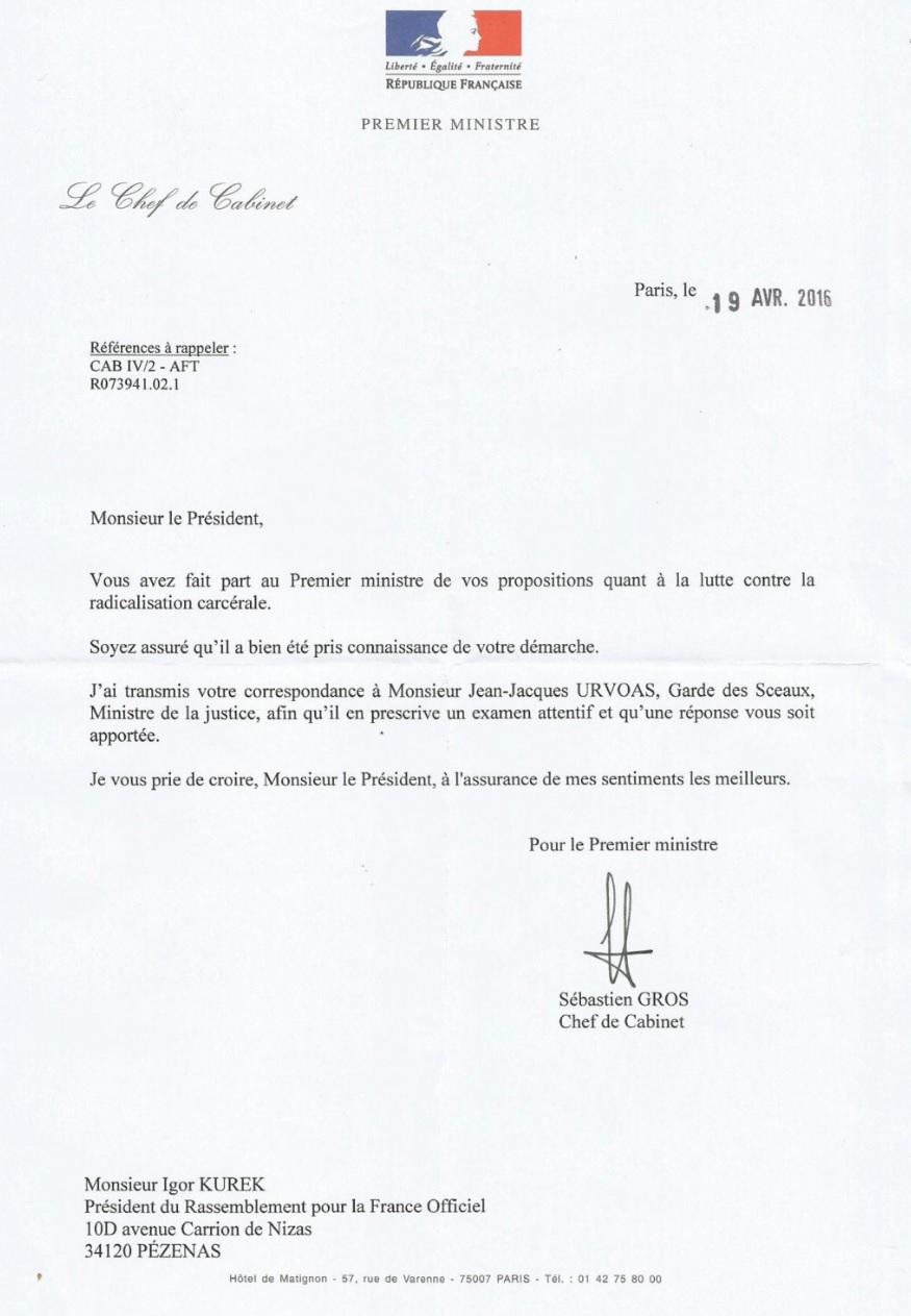 Franck barbey rassemblement pour la france alpes maritimes - Chef de cabinet du premier ministre ...